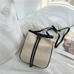 White and black edge women's square crossbody bag